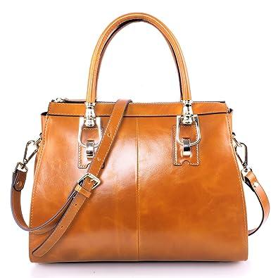 Yafeige Womens Lady s Handbag Vintage Luxury Wax Genuine Leather Tote  Shoulder Bag Satchel Purse ( df6bf9fcca