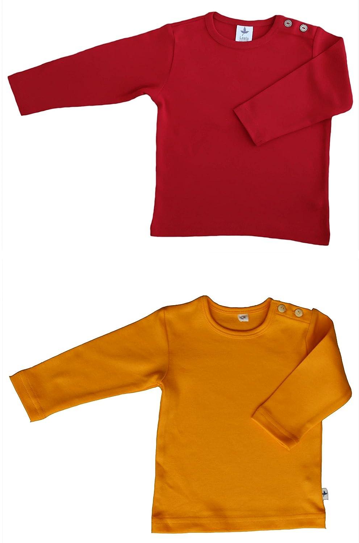 Baby Kinder Langarmshirt Bio-Baumwolle 2 er Pack GOTS T-Shirt Shirt Jungen Mädchen Gr. 50/56 bis 104