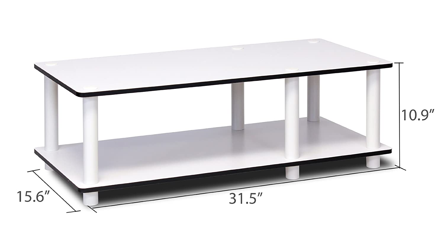 Furinno 11174DC BK //BK Just No Tools Dark Cherry Mid Television Stand with Black Tube