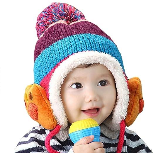 e0df7412aa91 Yonger Baby Girls Boys Knit Winter Warm Earflap Hats Caps Infant Beanie Hat  (Blue