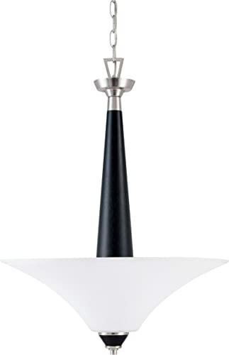 Nuvo Lighting 60 2462 Keen 1-Light Pendant with Satin White Glass, Brushed Nickel with Ebony Wood