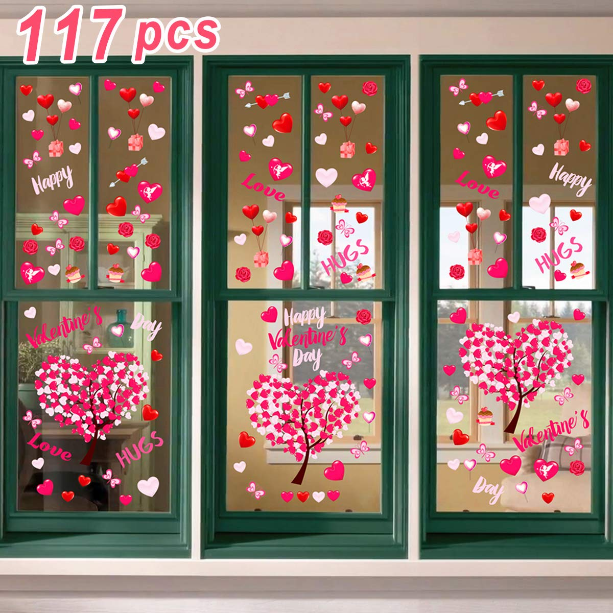Ivenf Valentines Day Decorations Heart Window Clings Decor Kids School Home Office Large Valentines Hearts Accessories Birthday Party Supplies Gifts