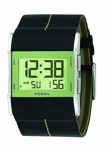Fossil JR9642 - Reloj digital de cuarzo para hombre con correa de piel, color negro: Amazon.es: Relojes