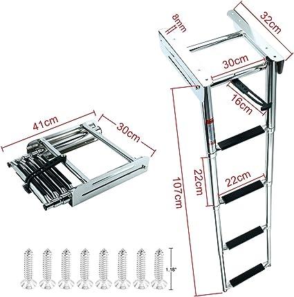 Stainless Steel 4 Steps Under Platform Boat Boarding Telescoping Ladder Vivid