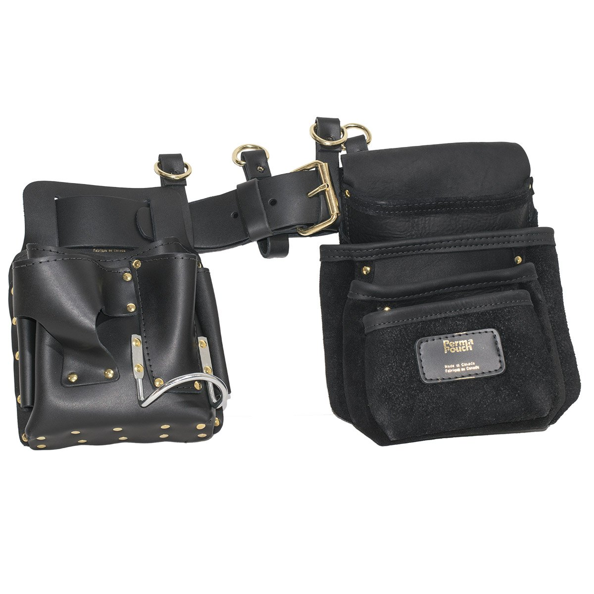 Drywaller's Complete Leather Adjustable Complete Tool Belt with Pouches and Suspender Loops