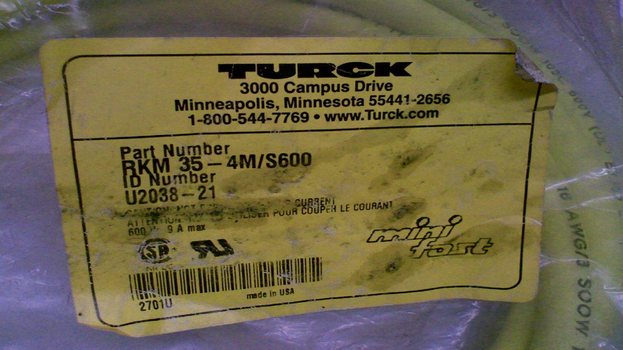Turck Rkm 35-4M//S600 Minifast Single Ended Cordset 3-Pole 4 Meters Rkm 35-4M//S600