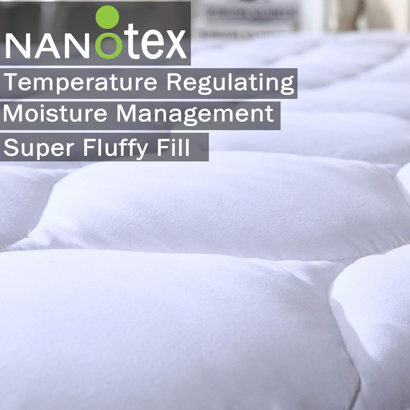 Quilted Fitted Mattress Pad Featuring Nanotex Coolest Comfort Temperature Regulating Cooling Technology. Super Soft SPA Grade Microfiber. Guaranteed to Fit Up to 18 Inch Mattress (Queen Size)