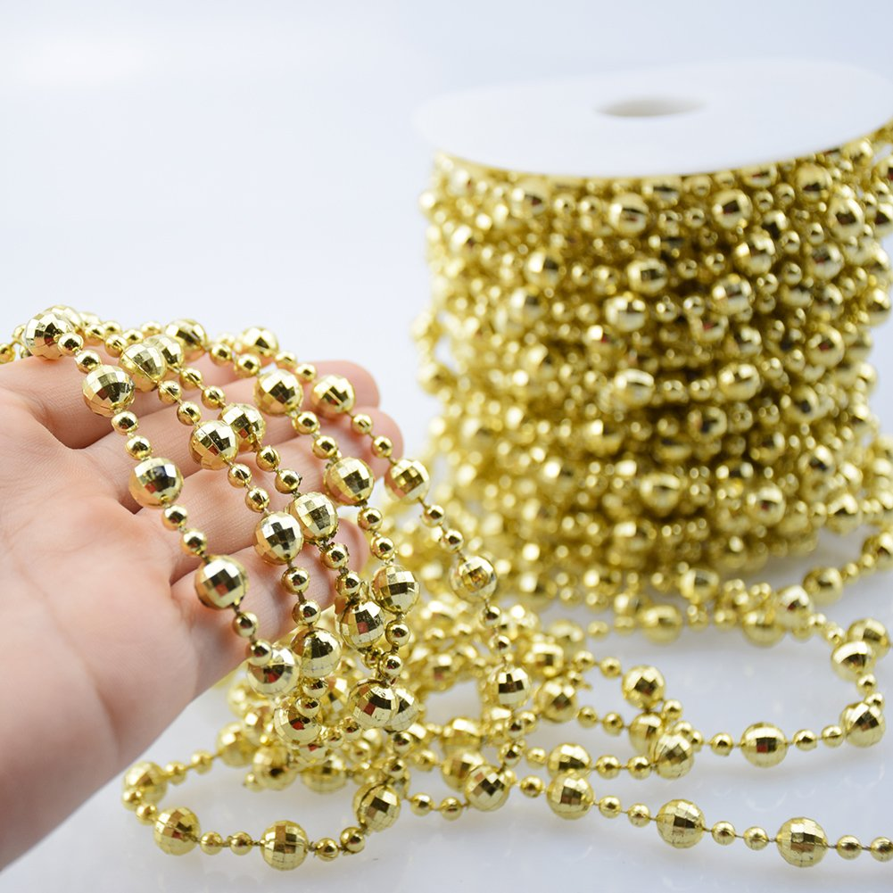 BoJia Pearl Bead Roll Faux Pearls Beads String by The Roll Faux Crystal Beads Garland 50ft ABS Cuttable for Christmas DIY Decoration Silver Costume Wedding Clothing Exhibition Valentine