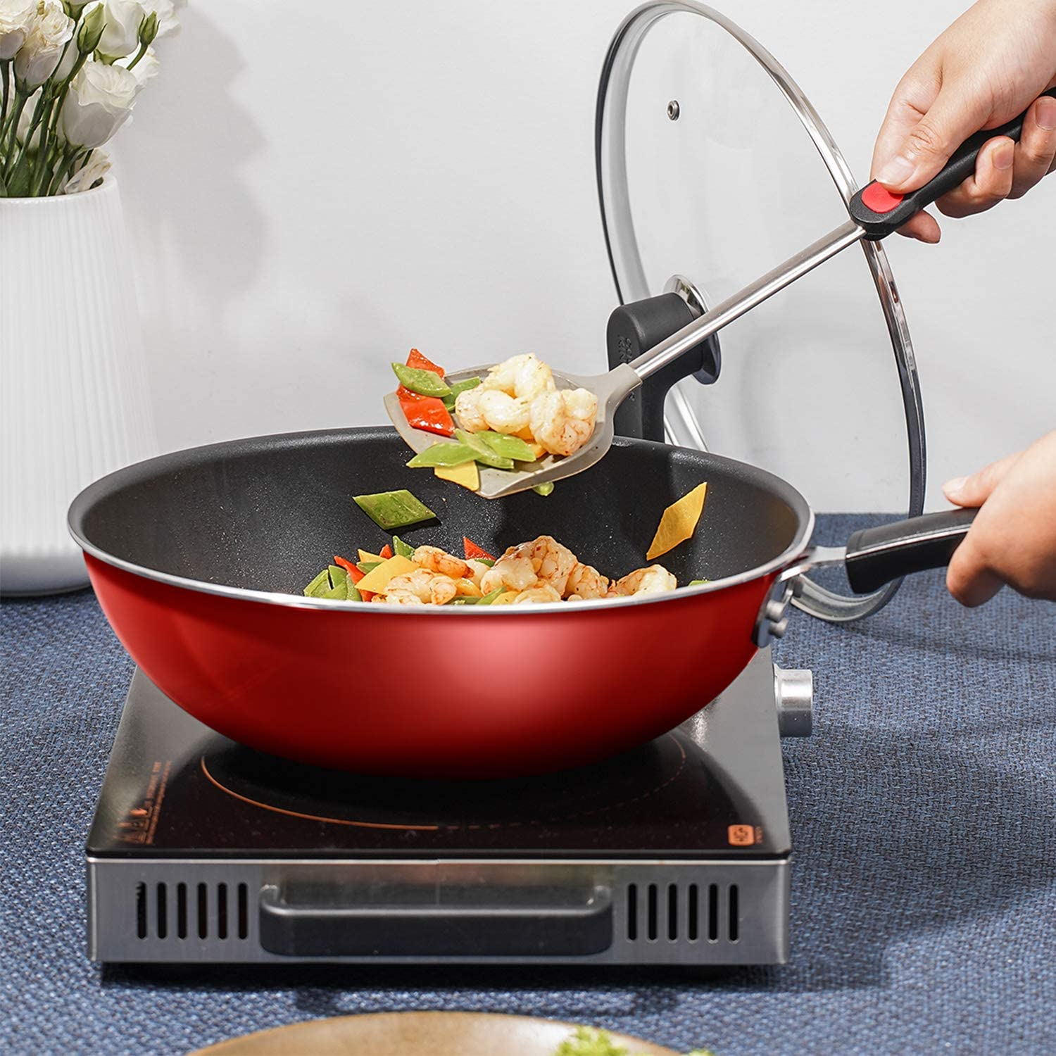 COOKER KING Nonstick Pan and Pot Set Induction Base Red