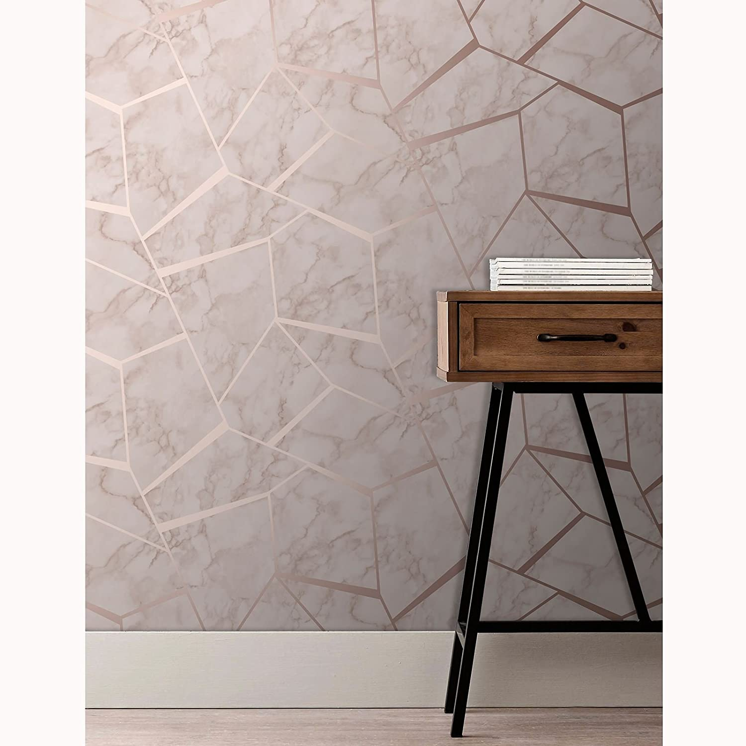 Fractal Geometric Marble Wallpaper Rose Gold Fine Decor Fd42264