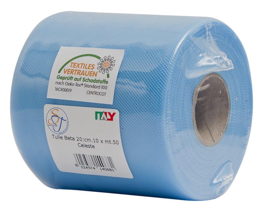 ST-Milano 25rotolo di tulle 10cm x 50m, luce blu, 9x 9x 10cm ST-Milano di Sergio Tosana