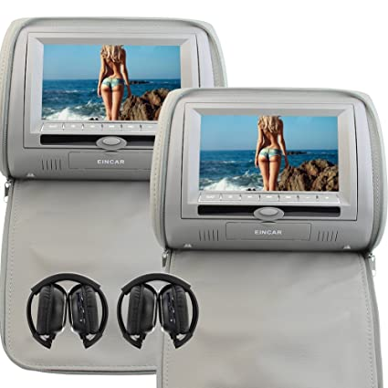 Image Unavailable Not Available For Color EinCar 7 Inch Grey Car Headrest Monitors Digital Dual Screen DVD Player