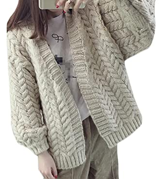 339fcc4ca88c59 Sweatwater Women's Vintage Chunky Open-Front Cable Knit Cardigan Sweaters  Beige One-Size at Amazon Women's Clothing store: