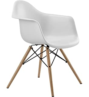 DHP Mid Century Modern Eames Inspired Chair With Molded Arms And Wood Legs,  Lightweight