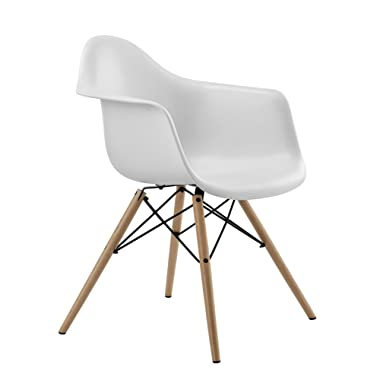 DHP Mid Century Modern Chair with Molded Arms and Wood Legs, Lightweight, White