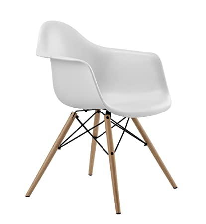 DHP Mid Century Modern Chair With Molded Arms And Wood Legs Lightweight White