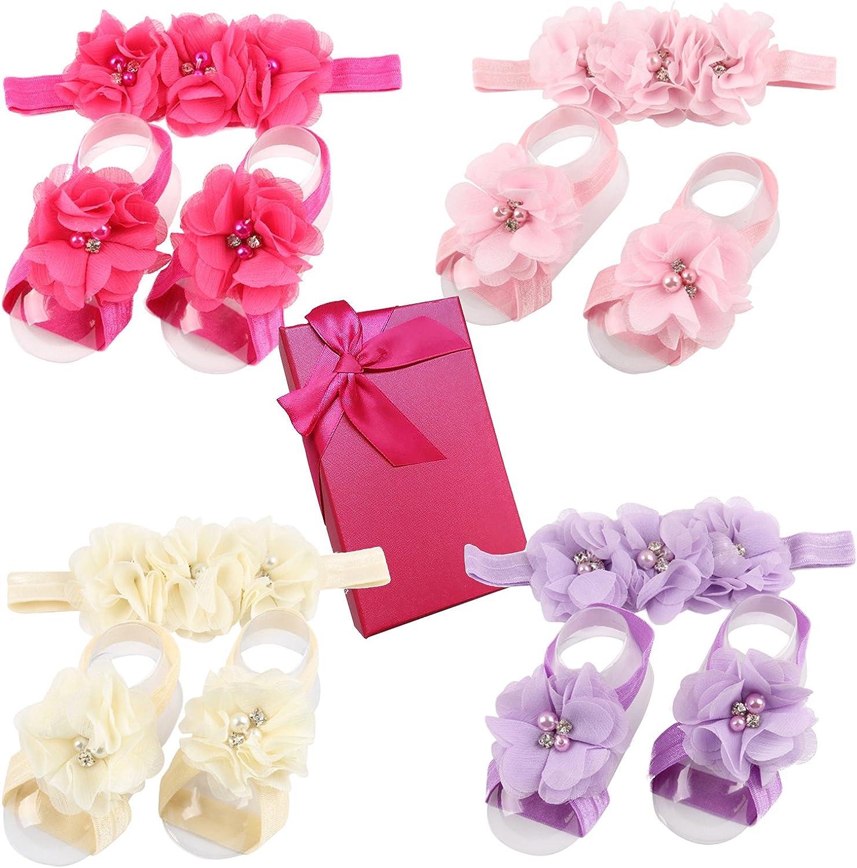 Elesa Miracle Baby Girl Pearl Chiffon Barefoot Flower Sandals In Gift Box