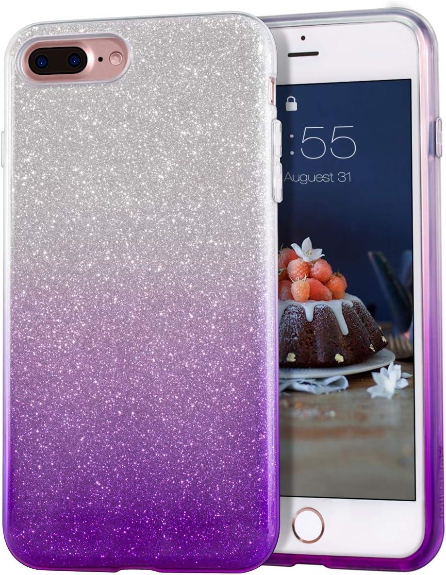 "MATEPROX iPhone 8 Plus case,iPhone 7 Plus Glitter Bling Sparkle Cute Girls Women Protective Case for iPhone 7 Plus/8 Plus 5.5"" (Gradient Purple)"