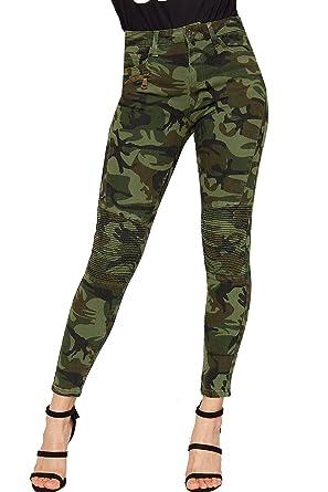 new varieties shop new arrival WearAll Women's Camouflage Print Skinny Leg Padded Biker Jeans New Ladies  Pants Trousers 6-14