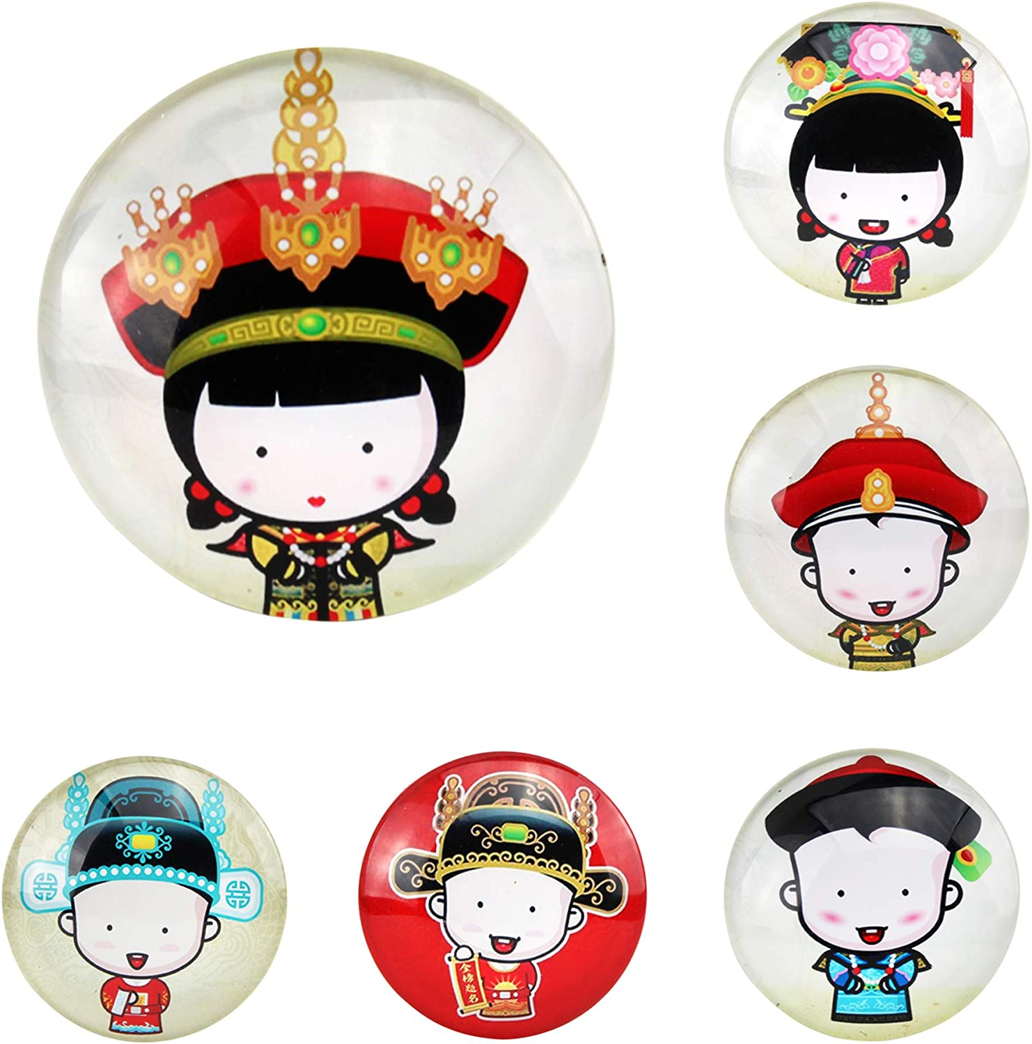 Set of 6 Palace Museum Glass Refrigerator Magnets Fridge Magnet Peking Opera Royal Family Cartoon Characters Set Resin Colorful Decorative Crystal Fridge Magnets Travel Gift about Chinese Culture