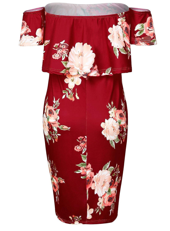 Damen Fashion Elegant Schulterfreies Kleid Blumen Floral Off Shoulder  Bodycon Partykleid Strandkleid mit Cut-outs: Amazon.de: Bekleidung