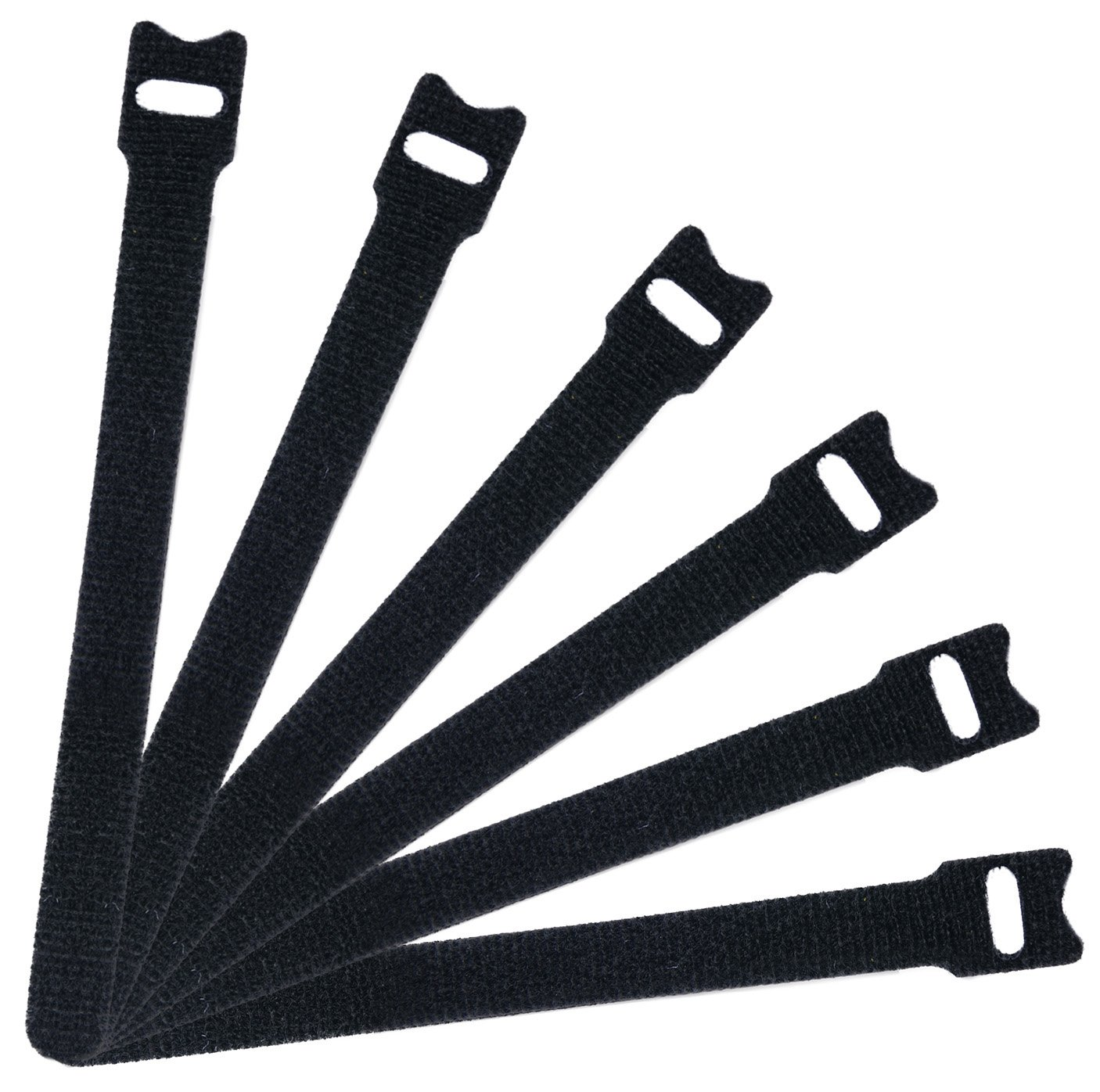 Attmu 50 PCS Reusable Fastening Cable Ties, Microfiber Cloth 6-Inch Hook and Loop Cord Ties, Black BBB-025