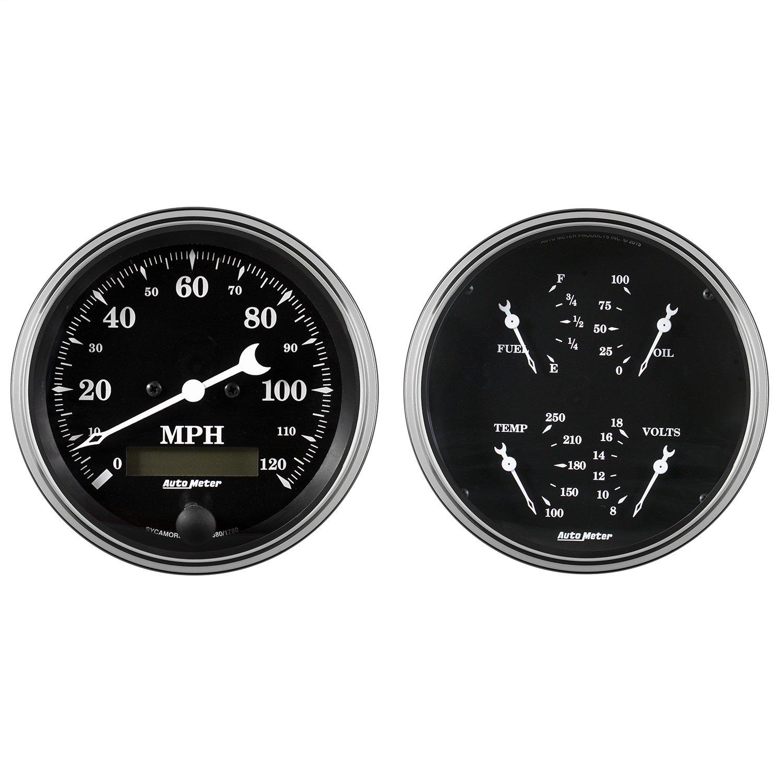 Auto Meter AutoMeter 1703 Gauge Kit, 2 Pc, Quad & Speedometer, 5'', Old TYME Black