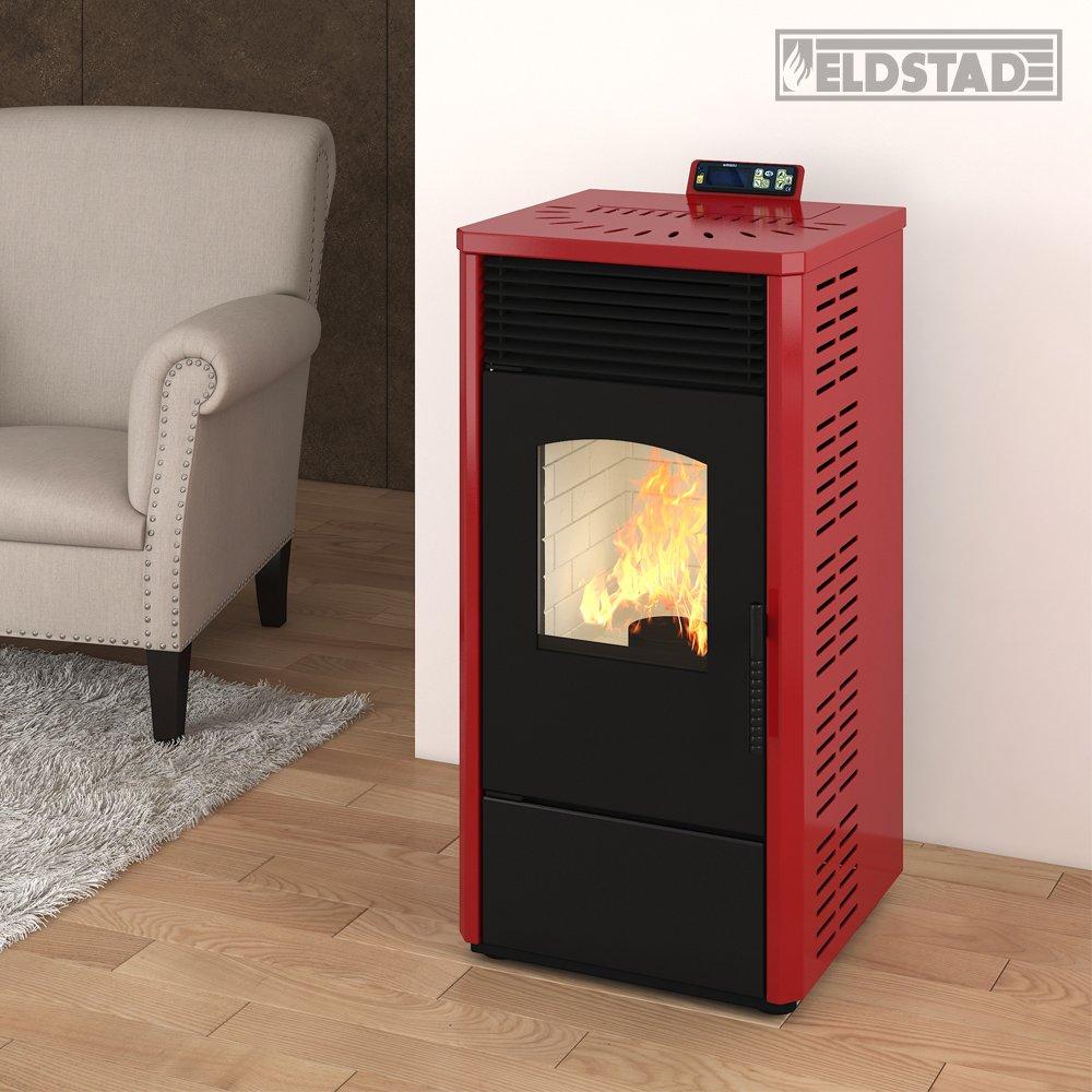 Eldstad horno de pellets estufa de pellets chimenea 10,9 kW rojo: Amazon.es: Bricolaje y herramientas