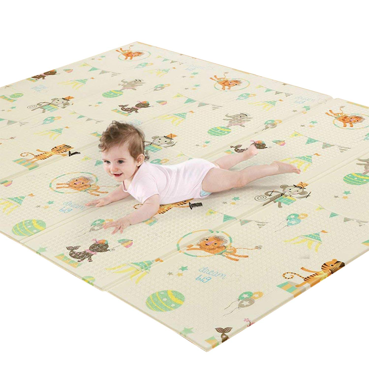 HAN-MM Baby play mat folding baby Care XPE Playmat Foam Floor Slip Extra Large Foam Reversible Waterproof Portable double sides Kids Baby Toddler Outdoor or Indoor Use Non Toxic 78x57.x0.4in (Deerlet)
