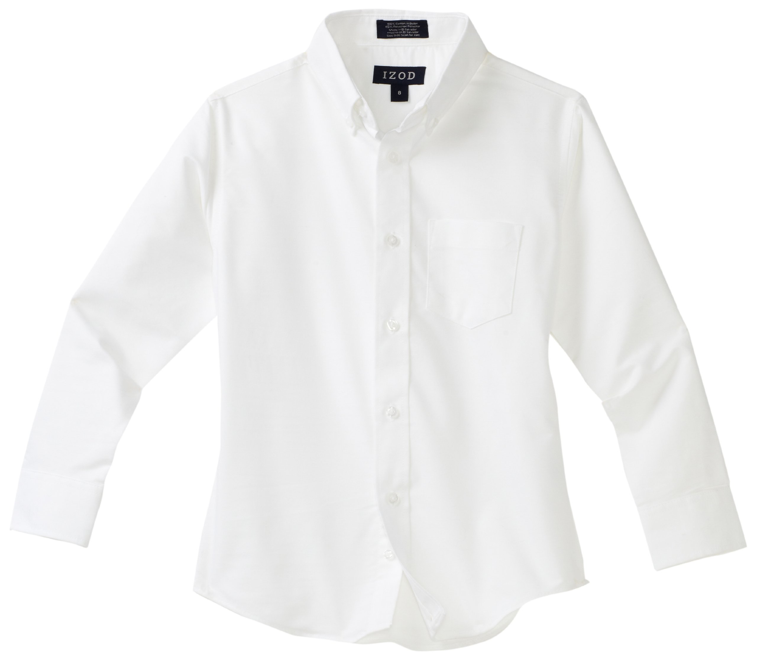 Izod boys Long Sleeve Solid Button-Down Oxford Shirt, White, 16R by IZOD
