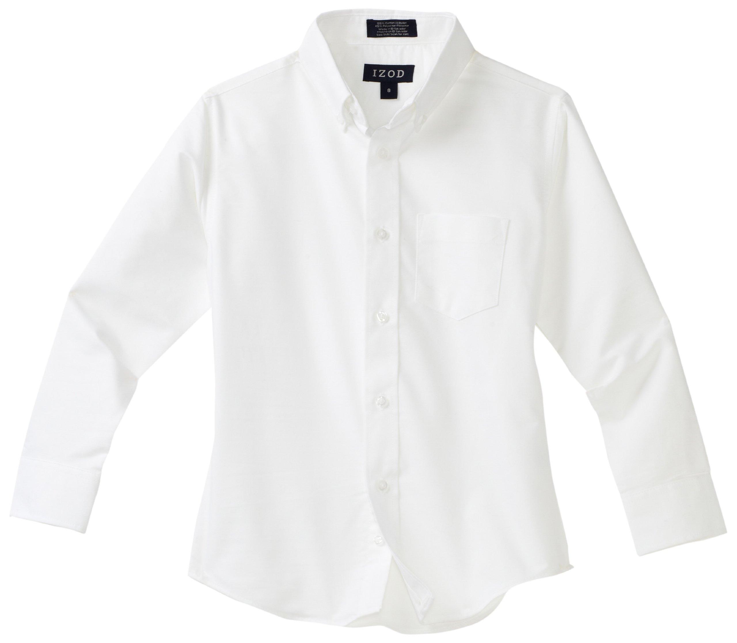 IZOD Kids Big Boys' Long Sleeve Oxford Shirt, White, 14R