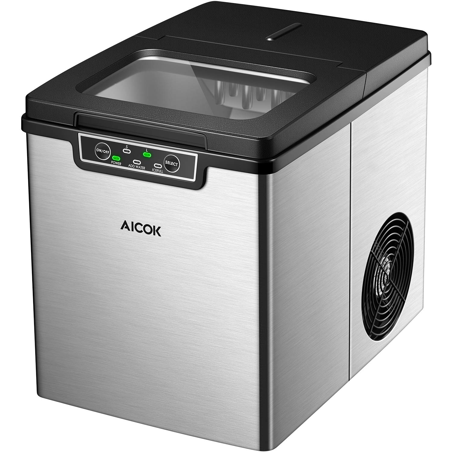 AICOK Portable Ice Maker, Quiet Counter Top Ice Machine with 2 Quart Water Tank and Ice Scoop, Stainless Steel Ice Maker Machine, Bullet-Shaped Ice Ready in 6 Minutes, 26 lbs in 24 Hours