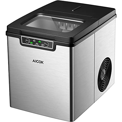 AICOK Eiswürfelmaschine/Eismaschine/26 Pfund EIS in 24 Stunden/Produktionszeit 6-14