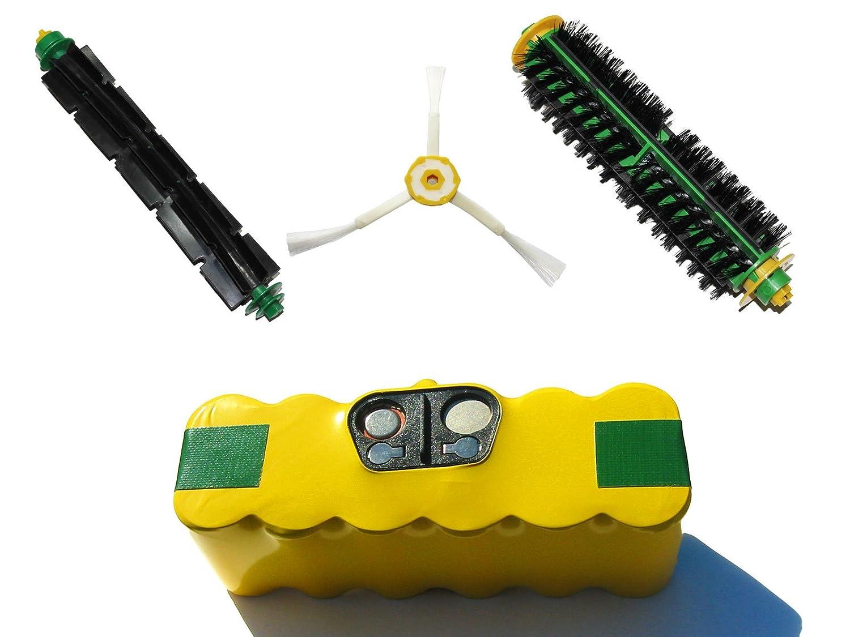 iRobot Roomba 532 Pet Series Battery, Bristle Brush and Flexible Beater Brush, 3-Arm Side Brush - Kit Includes 1 High Capacity Battery, 1 Bristle Brush and 1 Flexible Beater Brush, 1 3-Arm Side Brush Upstart Battery