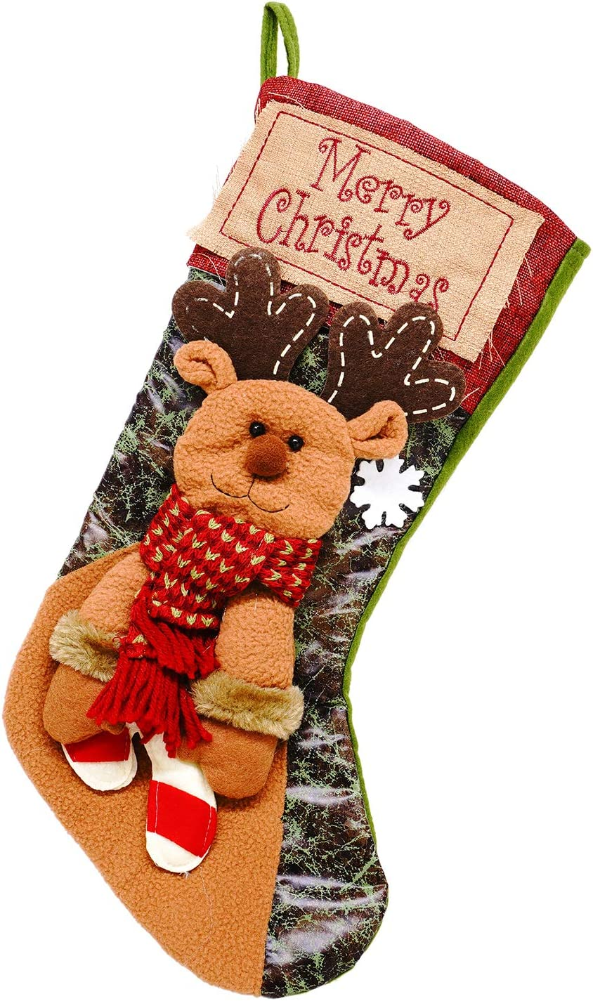 Christmas Stockings Personalized, MoBeauty 18Inch Fireplace Hanging Stocking for Xmas Decoration Tree Ornament Holiday Party Seasonal Decor - Reindeer