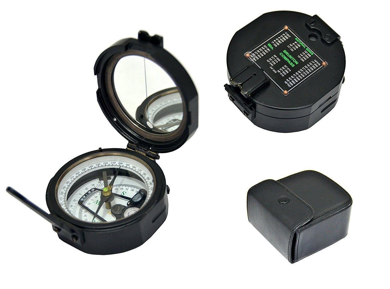 Max Engineering Enterprises Messing Nautischen Geologische Brunton Transit Kompass – Voll funktionsfähig in Leder Fall