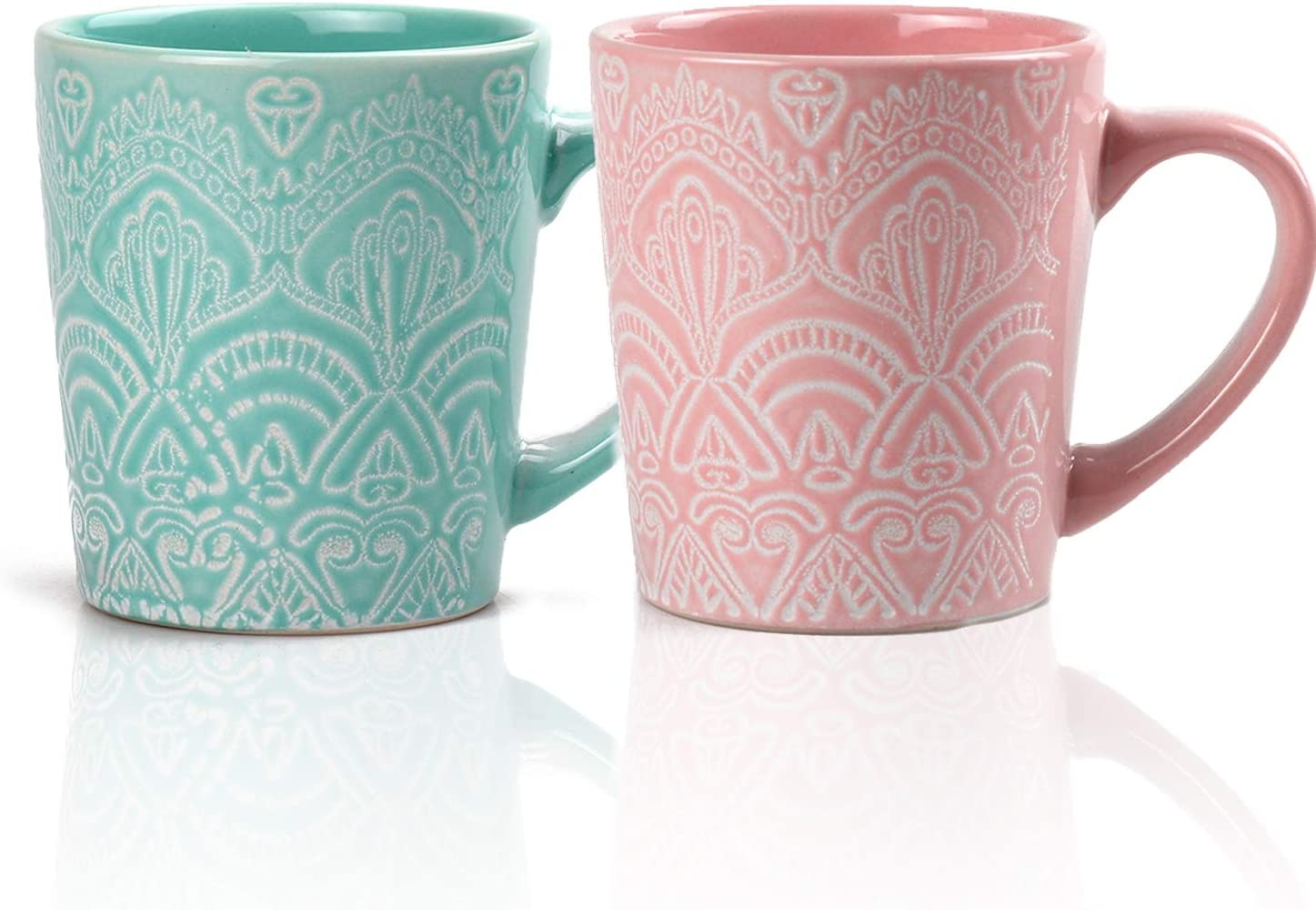 MiliPow Hannah Choice Fine Patterns and Texture Mug - Juego de tazas de café y té (2 unidades, 320 ml), color verde y rosa