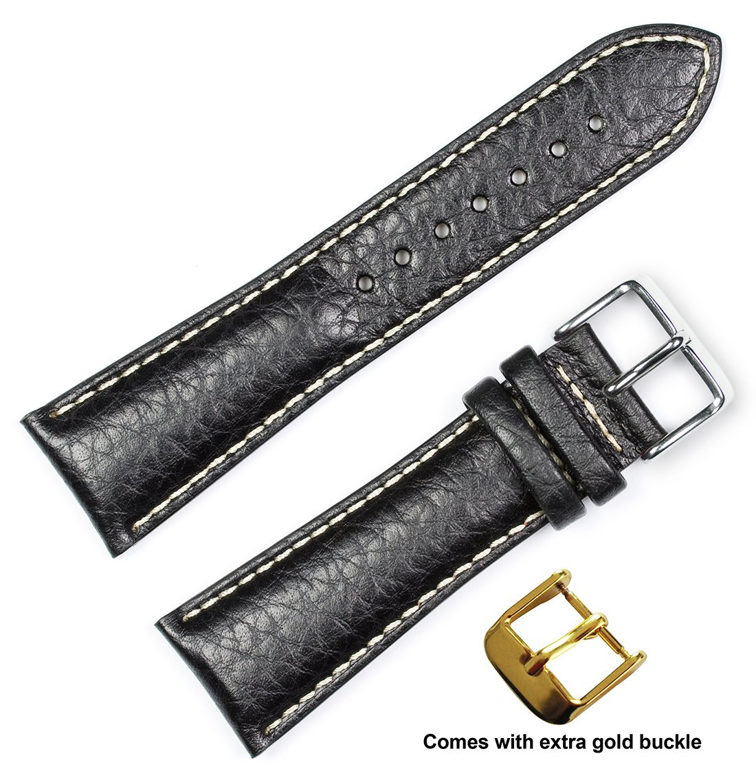 deBeer brand Sport Leather Watch Band (Silver & Gold Buckle) - Black 20mm