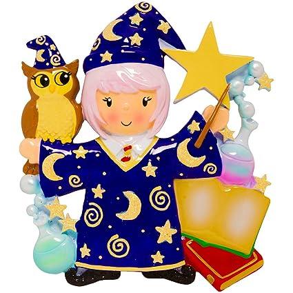 Amazoncom Personalized Wizard Girl Christmas Tree Ornament 2019