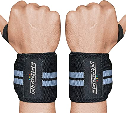 Weight Lifting Wrist Wraps Hand Support Gym Straps Brace Cotton Pink White Line