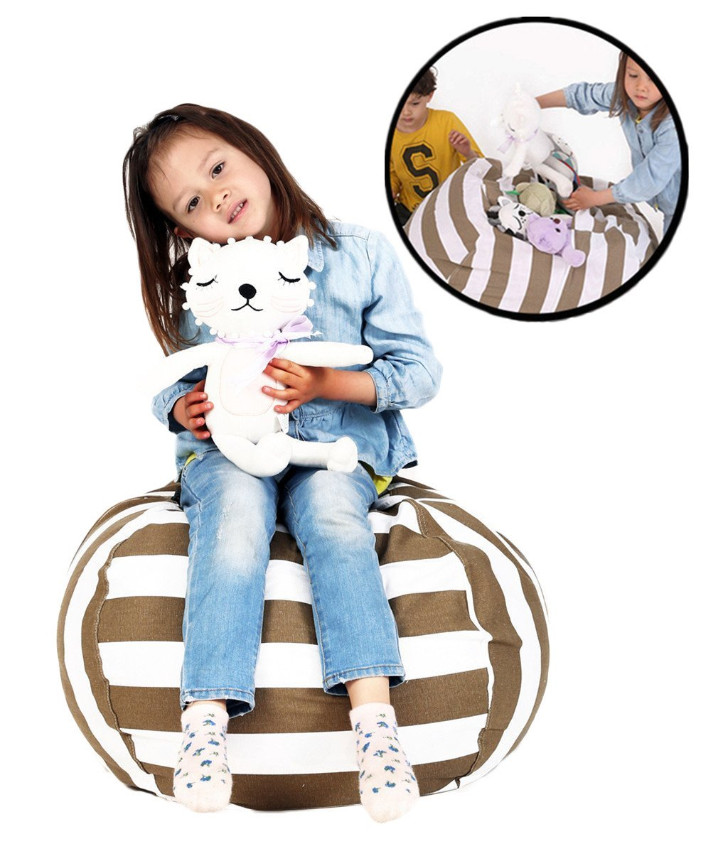 Lukeight Bean Bag Stuffed Animal Storage, Ultimate Storage Solution To Clean Up & Organize Kid's Room, Replace Your Mesh Toy Hammock or Net - 27 Blue Stripe