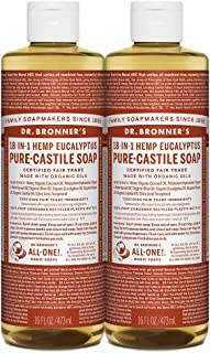product image for Dr. Bronner's - Pure-Castile Liquid Soap (Eucalyptus, 16 ounce, 2-Pack) - Made with Organic Oils, 18-in-1 Uses: Face, Body, Hair, Laundry, Pets and Dishes, Concentrated, Vegan, Non-GMO