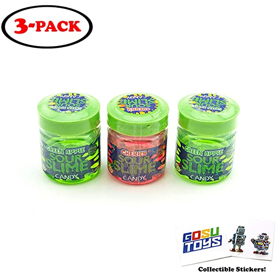 Sour Slime Liquid Candy 3 Pack Assorted Cherry And Green Apple Spoon Inside Lid With 2 Gosutoys Stickers Amazon In Grocery Gourmet Foods