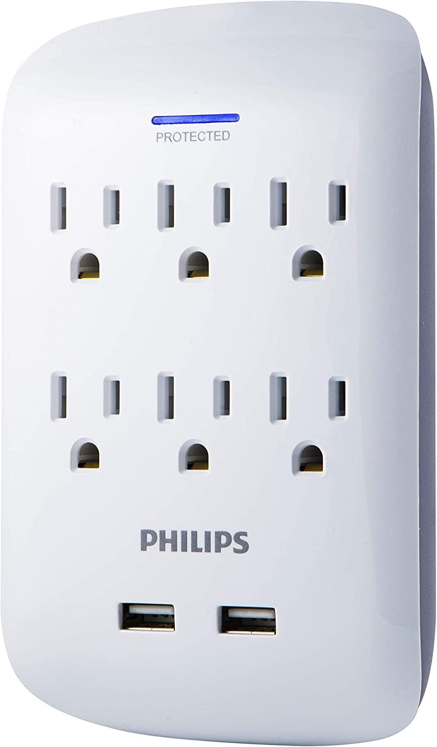 Philips 6-Outlet 2 USB Surge Protector Wall Tap Adapter, Charging Station, 3-Prong, SPP6263WB/37