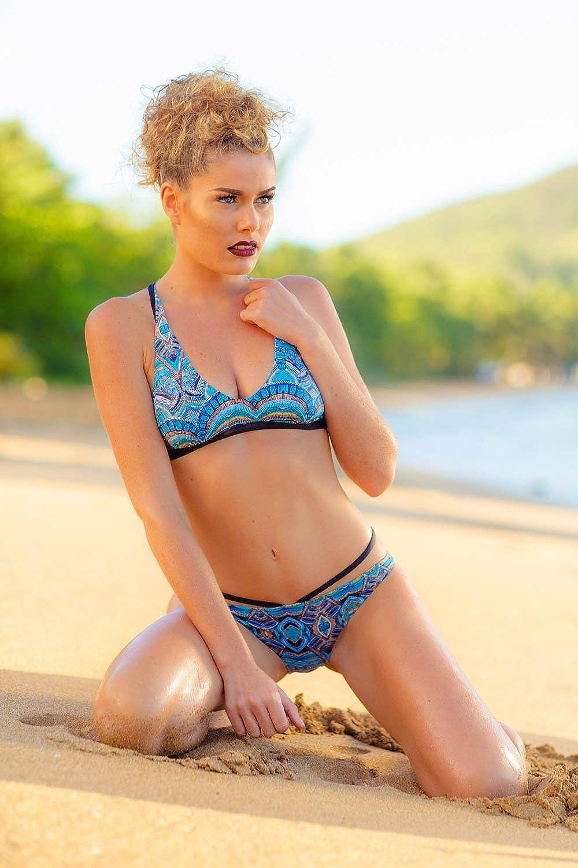 Bikini-Top Bustier Emmatika Joy Blue Salto Blau