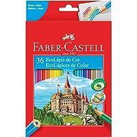 Faber Castell Ecolápis de cor sextavado 36 cores, Kit 4 Unidades