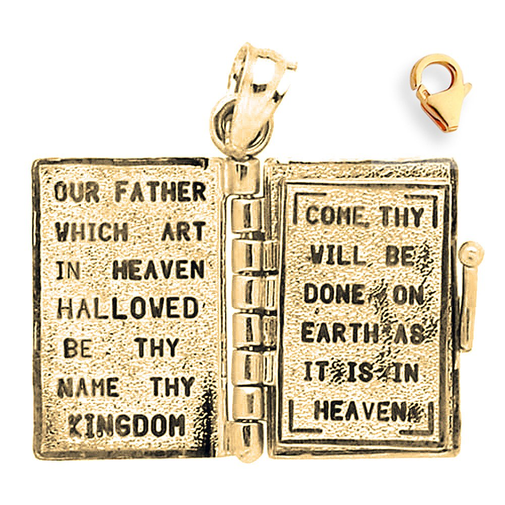 Silver Yellow Plated Bible With Lords Prayer Inside Charm 22mm
