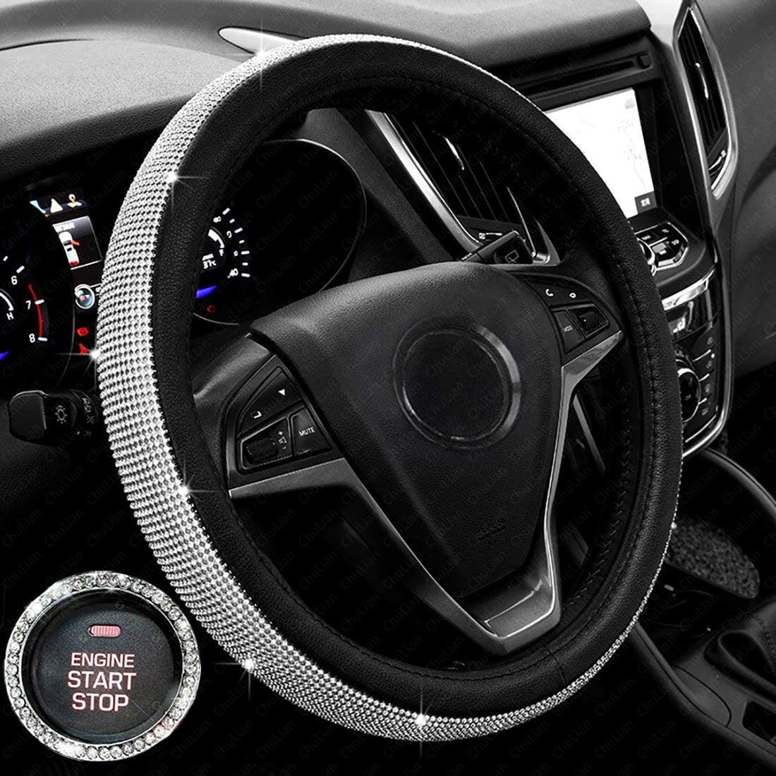 shop amazon com steering wheel coversnew diamond leather steering wheel cover with bling bling crystal rhinestones, universal fit 15 inch