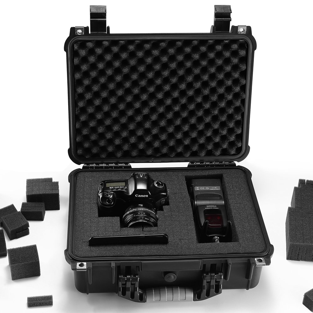 GDT Waterproof Hard Case with Foam Included, 16 x 13 x 7 Inches, Great for Camera, DJI Spark, Pistol or Gun Carrying Case by GD-T