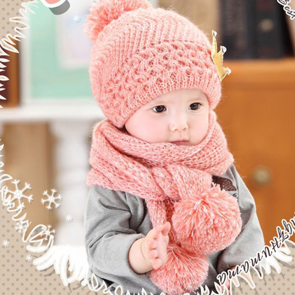 Kimanli Toddler Hat,Newborn Boys Girls Crown Coif Hood Scarf Hats Winter Warm Hat Caps